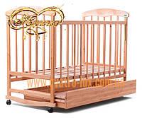 """Детская кроватка из ясеня """"Наталка"""" с ящиком для игрушек светлая"""