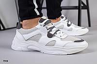 Кросівки чоловічі літні дихаючі білі з подвійною шнурівкою, фото 1