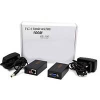 Удлинитель VGA по кабелю витая пара до 100м, VE-100, CAT5e/6-568B