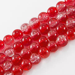 """Бусины """"Битое Стекло"""" Двухцветные, круглые, Цвет: Красный, Диаметр: 8мм, Отверстие 2мм, около 105шт/84см/нить"""