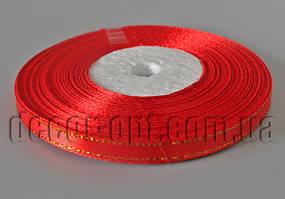 Лента атласная красная с золотым люрексом 0,6 см 30ярд 26