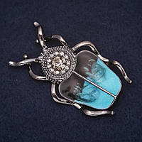 Брошь Жук Скарабей 50х30мм стразы эмаль цвет черный голубой сатин металл серебристый