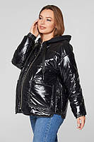 Весенняя куртка для беременных Lullababe Zaragoza (лаковая) черная