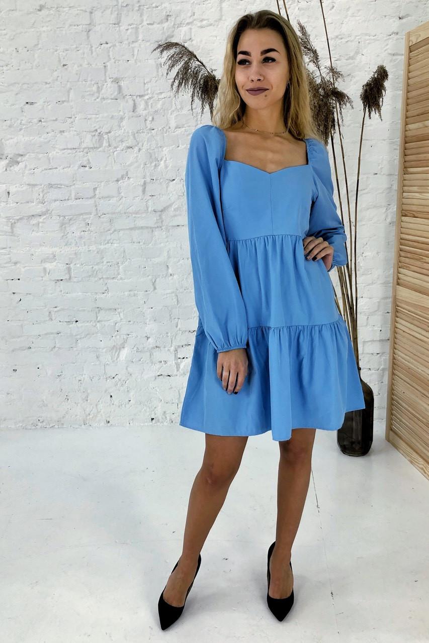 Изысканное платье с завышенной линией талии Clew - голубой цвет, L (есть размеры)