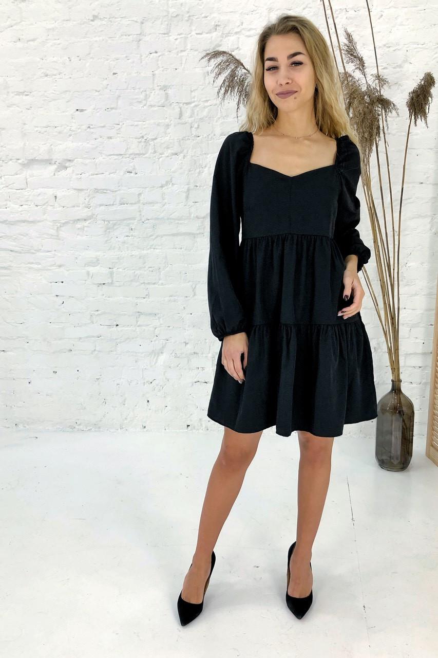 Изысканное платье с завышенной линией талии Clew - черный цвет, L (есть размеры)