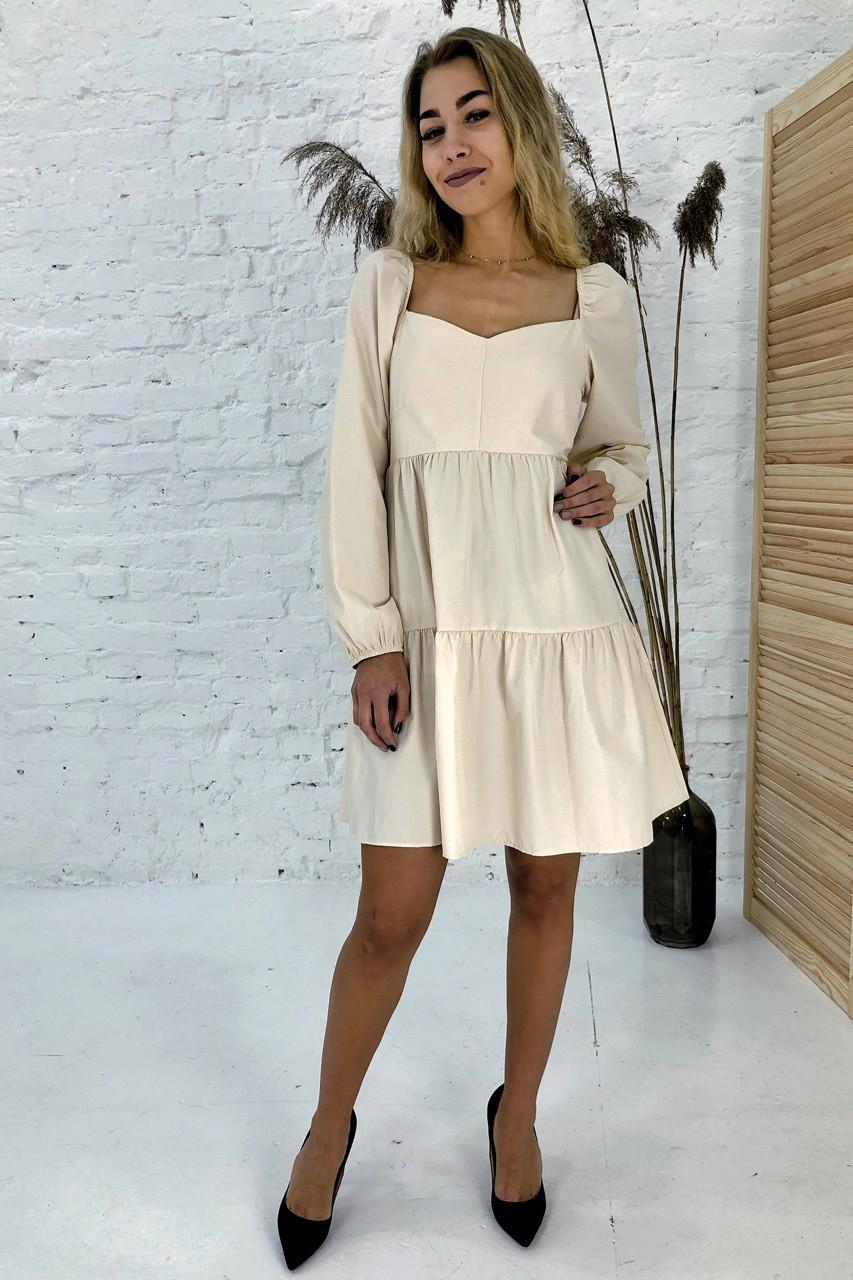 Изысканное платье с завышенной линией талии Clew - молочный цвет, M (есть размеры)