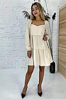 Изысканное платье с завышенной линией талии Clew - молочный цвет, M (есть размеры), фото 1