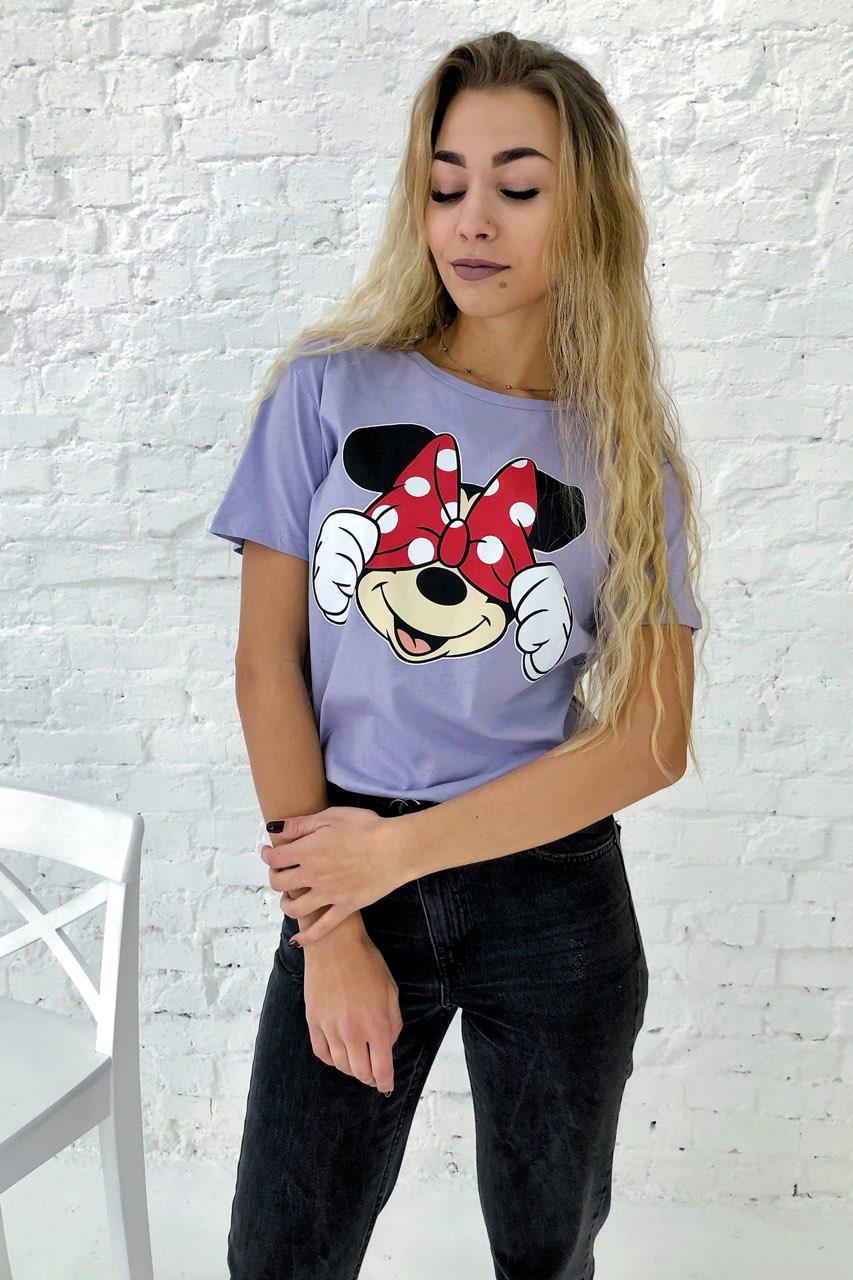 Молодежная футболка с Минни и бантиком  LUREX - лавандовый цвет, M (есть размеры)