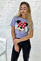 Молодежная футболка с Минни и бантиком  LUREX - лавандовый цвет, L (есть размеры), фото 1