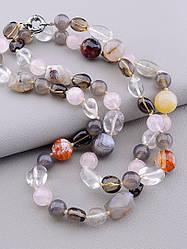 Бусы на шею женские разноцветные из натуральных камней самоцветов 90 см