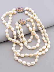 Комплект женских украшений состав набора бусы и браслет Жемчуг Галиотис 43 см