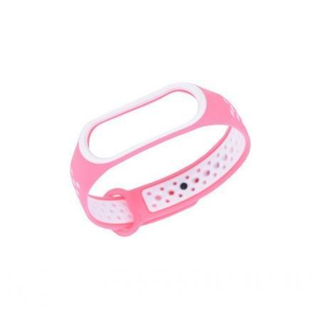 Ремешок для фитнес-браслета Xiaomi Mi Band 3 и Mi Band 4 Pink-White