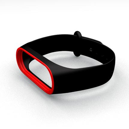 Ремешок для фитнес-браслета Xiaomi Mi Band 3 и Mi Band 4 Black-Red, фото 2