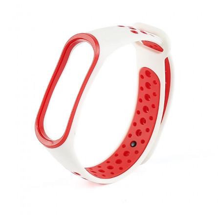 Ремешок для фитнес-браслета Xiaomi Mi Band 3 и Mi Band 4 White-Red