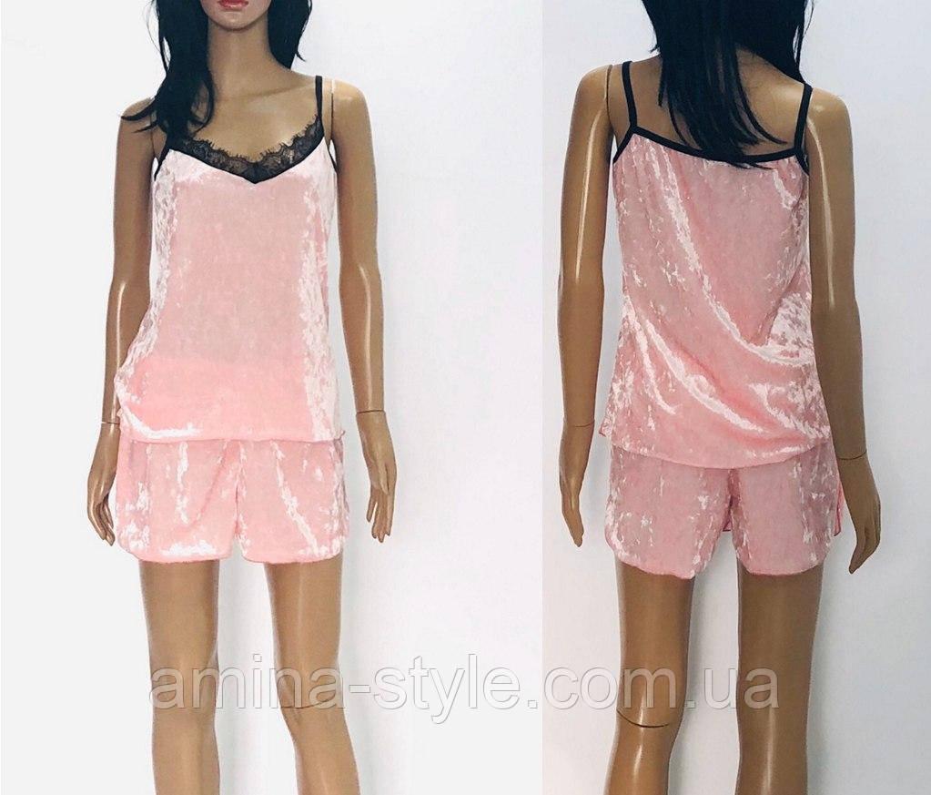 Комплект женский - топ с шортами велюр, размер 44-52