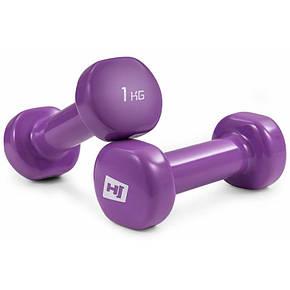 Гантели для фитнеса 2 шт. по 1 кг с виниловым покрытием HS-V015DC, фото 2