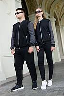 Чоловічий спортивний костюм чорний Грифон S, M, L, XL, XXL / мужской спортивный костюм черный кофта и брюки
