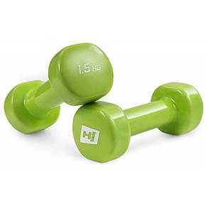 Гантели для фитнеса 2 шт. по 1,5 кг с виниловым покрытием HS-V010DC, фото 2