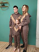 Чоловічий спортивний костюм капучіно Геометрія S-XXL / мужской спортивный костюм кофта и брюки коричневый