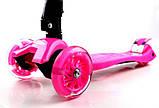 Самокат детский Maxi складной руль колеса светяться. Pink., фото 2