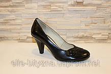 Туфлі жіночі чорні на підборах, натуральна шкіра Т71