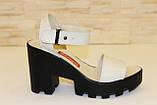 Босоножки бежевые женские на каблуке натуральная кожа Б700, фото 2