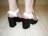 Босоножки бежевые женские на каблуке натуральная кожа Б700, фото 6