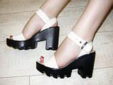 Босоножки бежевые женские на каблуке натуральная кожа Б700, фото 7