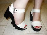 Босоножки бежевые женские на каблуке натуральная кожа Б700, фото 8