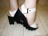 Босоножки бежевые женские на каблуке натуральная кожа Б700, фото 9