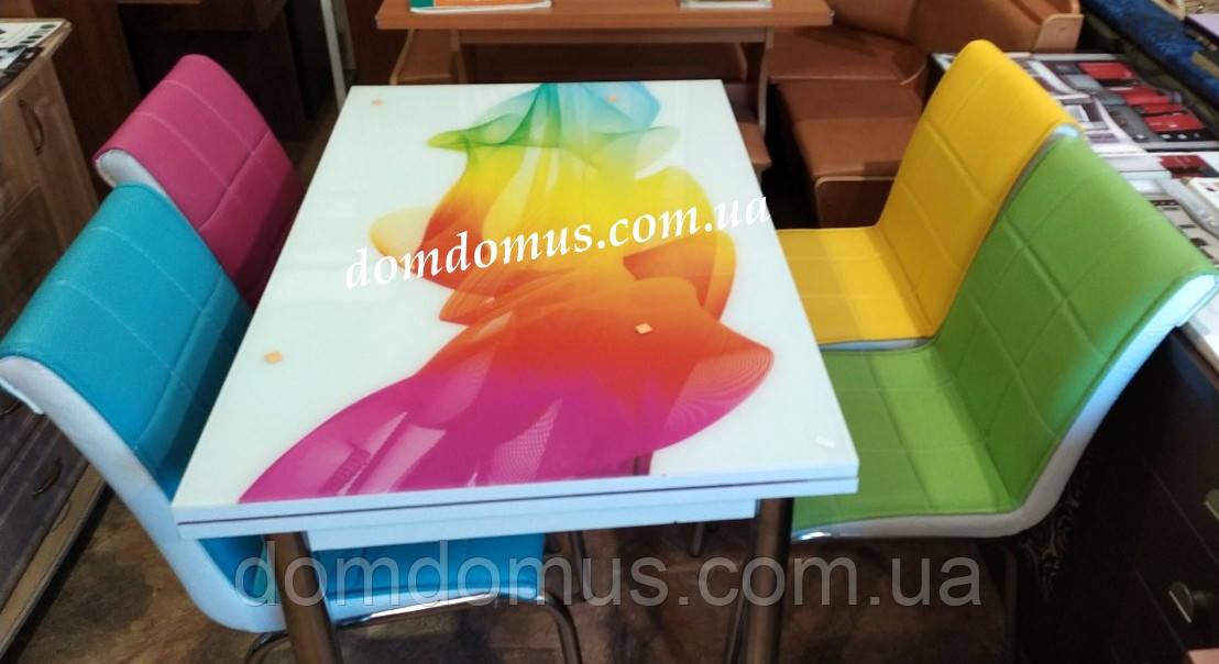 """Комплект обеденной мебели """"Acilir""""  90*60 см (стол ДСП, каленное стекло + 4 стула) Mobilgen, Турция"""