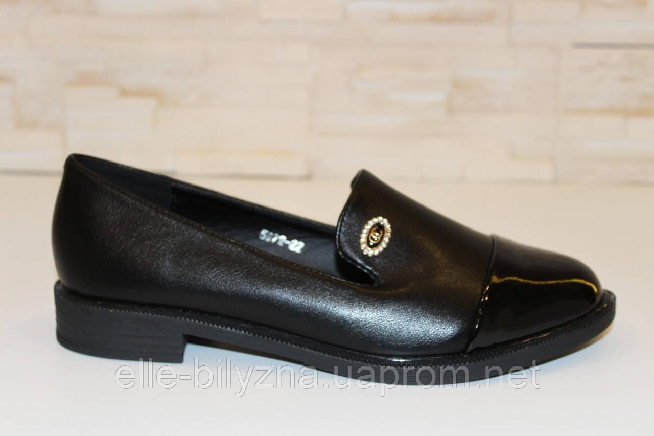 Туфли женские черные на маленьком каблучке Т807