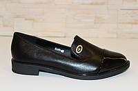 Туфли женские черные на маленьком каблучке Т807, фото 1