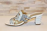 Шлепанцы женские белые на каблуке Б245, фото 2