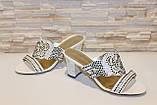 Шлепанцы женские белые на каблуке Б245, фото 4