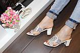 Шлепанцы женские белые на каблуке Б245, фото 5