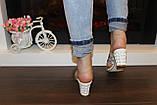 Шлепанцы женские белые на каблуке Б245, фото 8