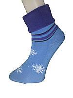 Носки женские махра Tommy отворот снежинка люрекс