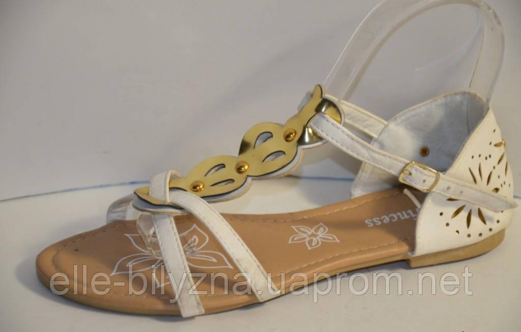 Босоножки белые женские с золотистой пряжкой Б517