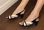 Босоножки женские черные с белым натуральная кожа Б223, фото 5