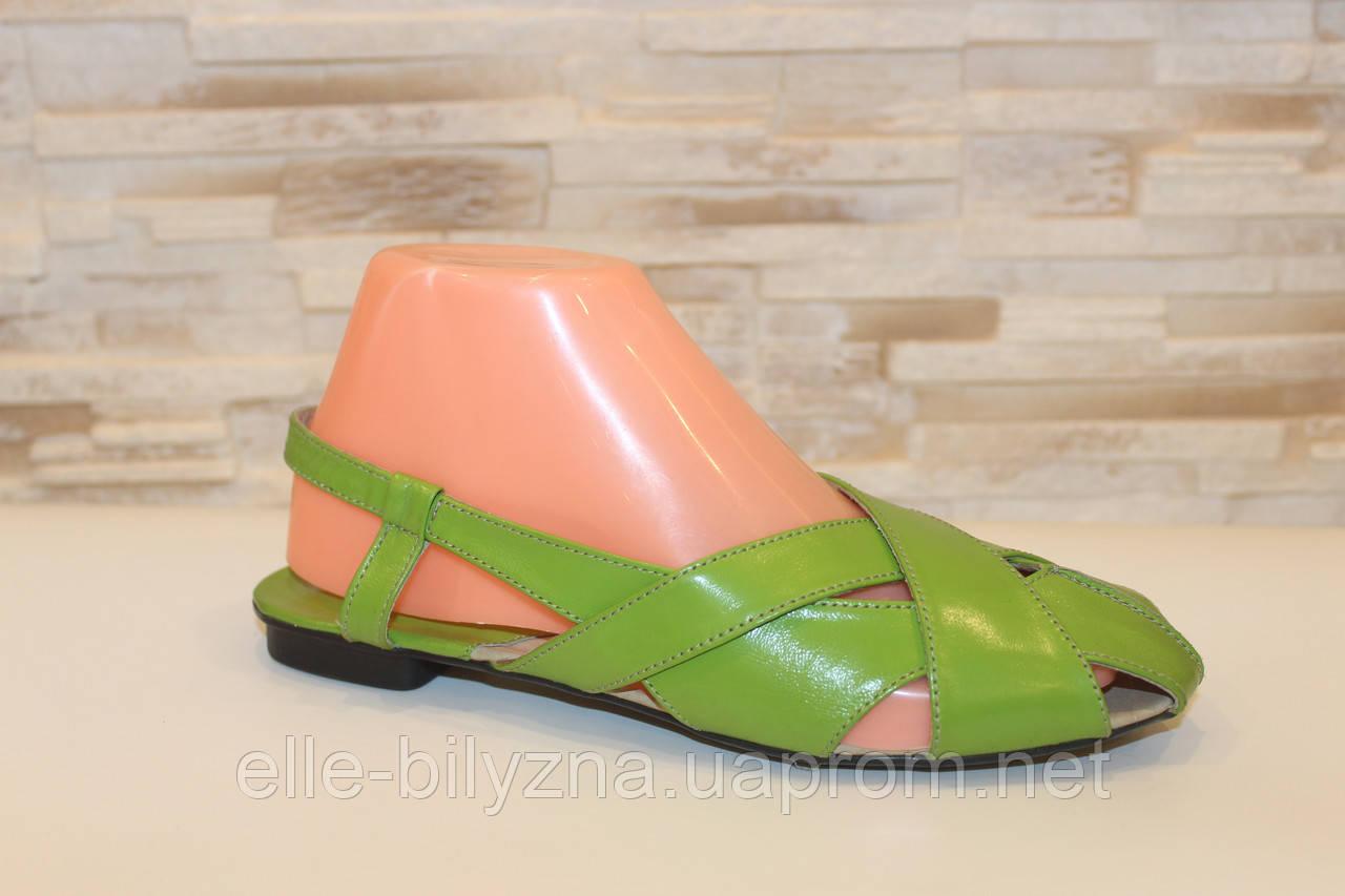 Босоножки женские салатовые натуральная кожа Б210