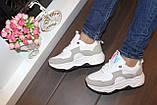 Кроссовки женские белые с серыми вставками Т035, фото 5