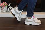 Кроссовки женские белые с серыми вставками Т035, фото 7