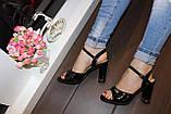 Босоножки черные женские лаковые на каблуке Б96, фото 2
