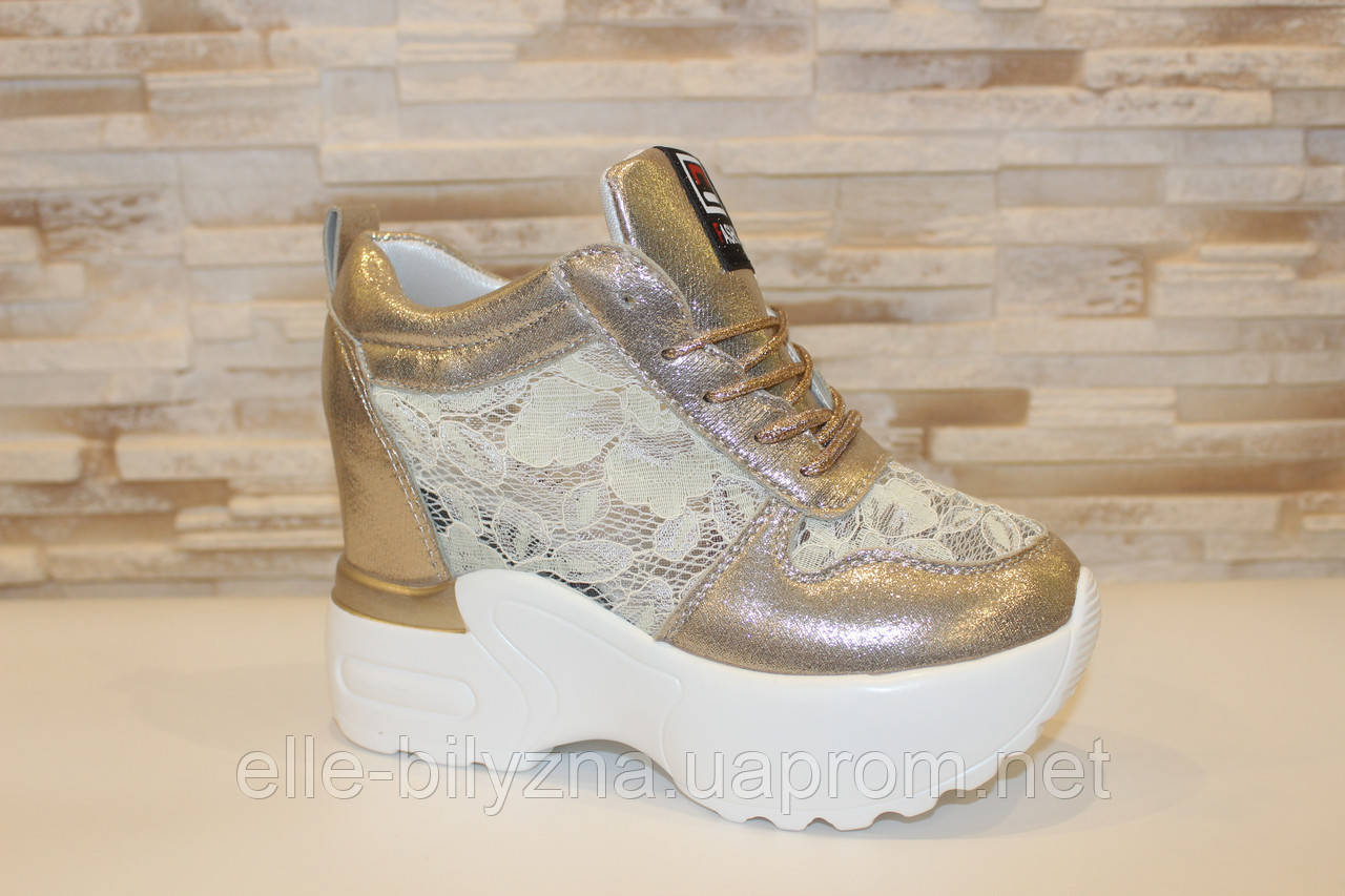 Сникерсы кроссовки женские золотистые с кружевными вставками Т047