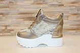Сникерсы кроссовки женские золотистые с кружевными вставками Т047, фото 2