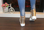 Сникерсы кроссовки женские золотистые с кружевными вставками Т047, фото 4
