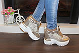 Сникерсы кроссовки женские золотистые с кружевными вставками Т047, фото 5