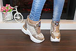 Сникерсы кроссовки женские золотистые с кружевными вставками Т047, фото 6
