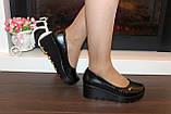 Туфли женские черные на танкетке Т350, фото 4